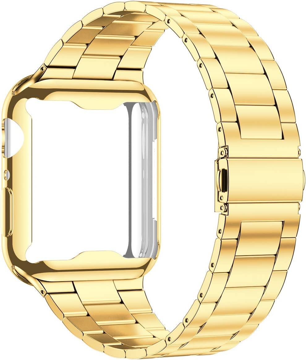 Wolait Compatible with Apple Watch Band 42mm 44mm 38mm 40mm with Case, Upgraded Business Stainless Steel Band with Screen Protector Cover for iWatch Series 5 4 3 2 1 -Gold, 42mm