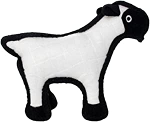 TUFFY - World's Tuffest Soft Dog Toy - Barnyard Sheep - NO Squeakers - Multiple Layers. Made Durable, Strong & Tough. Interactive Play (Tug, Toss & Fetch). Machine Washable & Floats.