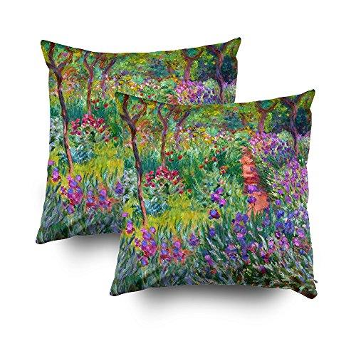 (TOMWISH 2 Packs Hidden Zippered Pillowcase Claude Monet The iris Garden at Giverny 18X18Inch,Decorative Throw Custom Cotton Pillow Case Cushion Cover for Home)