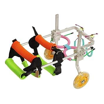 Silla de ruedas para mascotas, tamaño ajustable con flash Entrenamiento de rehabilitación de extremidades traseras