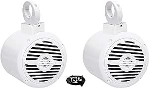 "(2) Rockville 5.25"" 400 Watt 360° Swivel White Aluminum Wakeboard Tower Speakers"