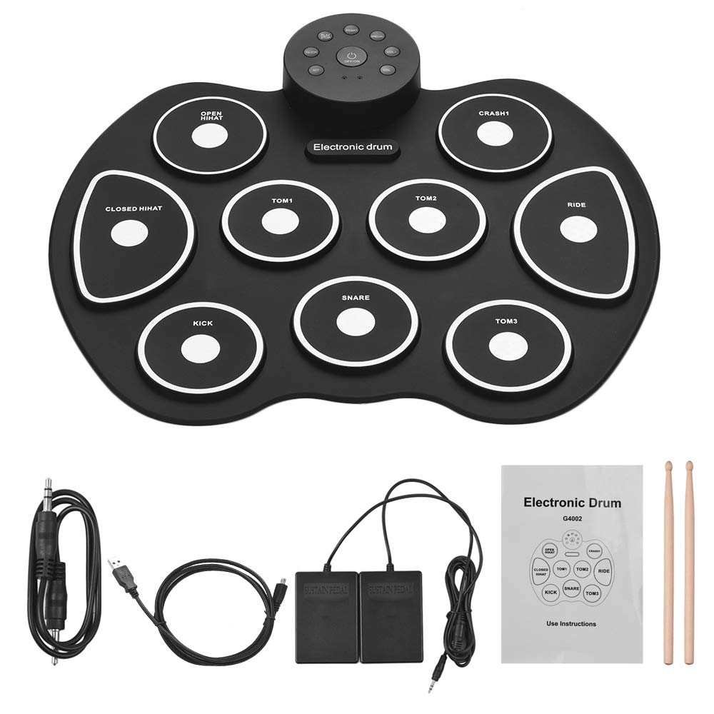 Muslady Compact Size USB Roll-Up Silicon Drum Set Digital Electronic Drum Kit 9 Drum Pads with Drumsticks Foot Pedals for Beginners Children Kids 1