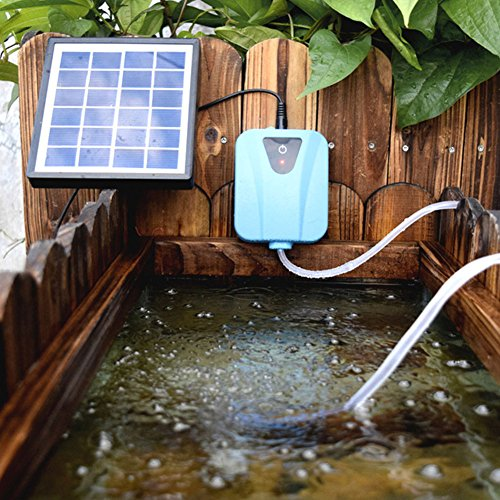 ETbotu Aquarium Air Pump Solar Powered Oxygenator Water Adjustable Oxygen Pump Pond Aerator ()