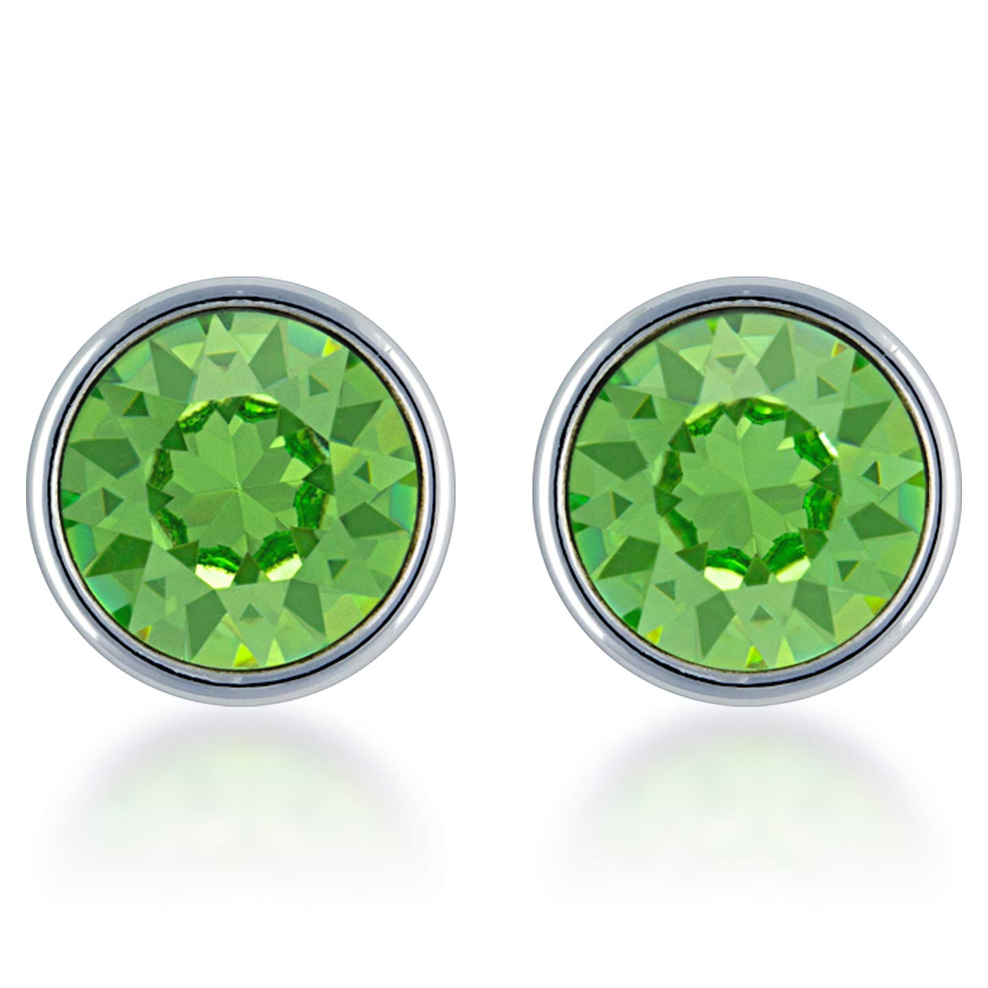 Stud Earrings with Green Peridot Round Crystals from Swarovski Silver Toned Rhodium Plated
