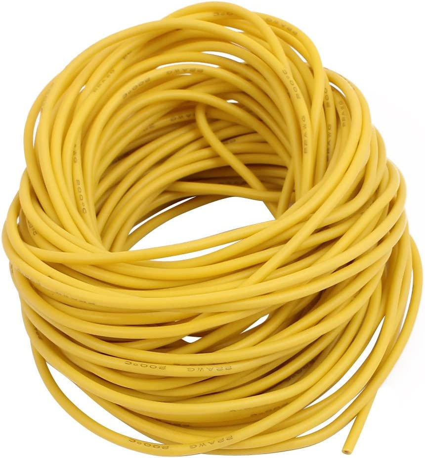 Aexit 10 Meter Video Cables 22AWG Yellow Gauge Flexible Stranded Copper Cable Silicone Wire for Firewire Cables for RC
