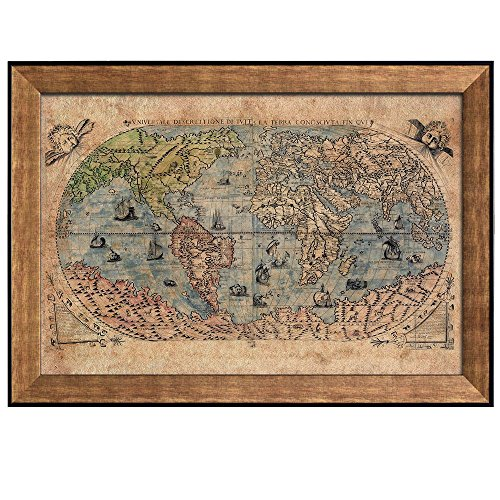 Antique World Map in Color Framed Art