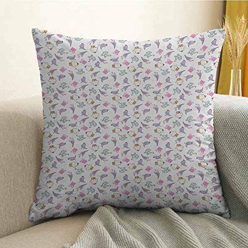 FreeKite Birthday Bedding Soft Pillowcase Sketch Art Style Birds Cupcakes Baby Carriages and Tulip Flowers Newborn Theme Hypoallergenic Pillowcase W18 x L18 Inch -