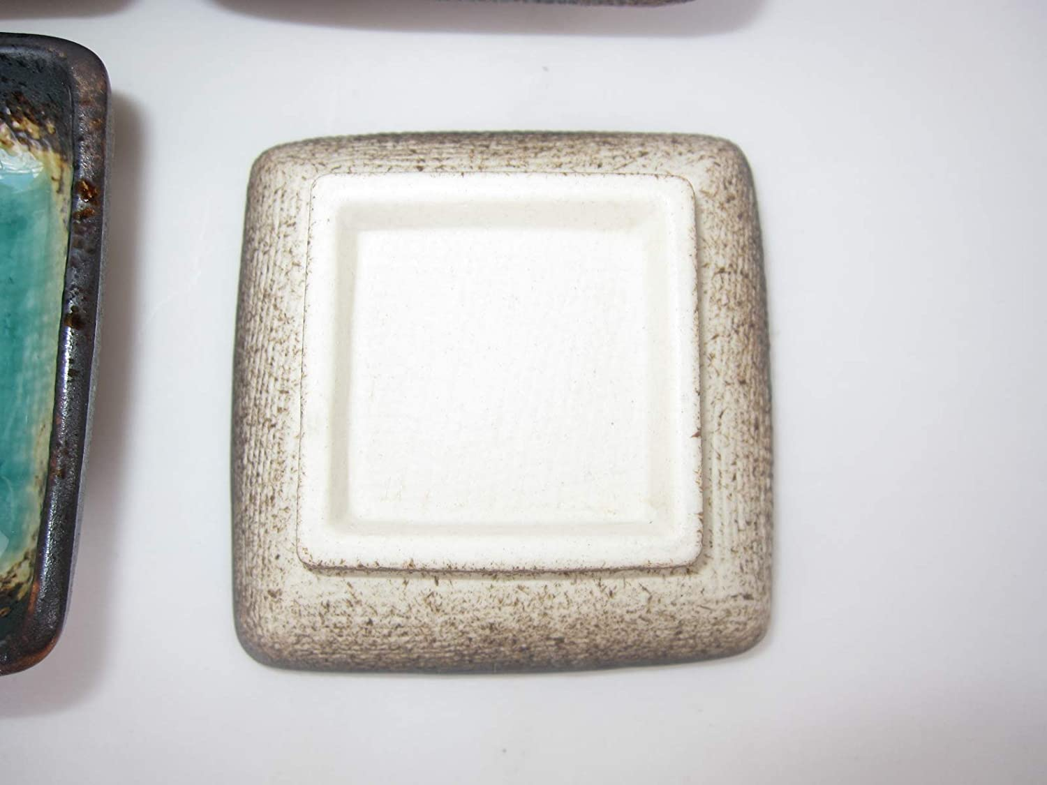 Japanese 2.8 square Soy sauce dish blue green Made in JAPAN dipping bowls Set of 4