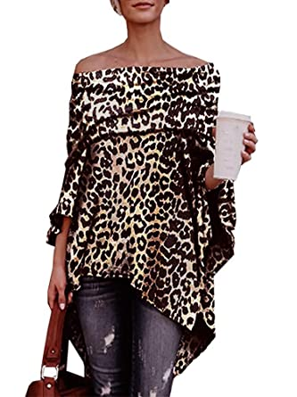 38f7042572f KIRJAUDU Women Leopard Print Off Shoulder Irregular Loose Poncho Tunic Tops  Blouse at Amazon Women's Clothing store: