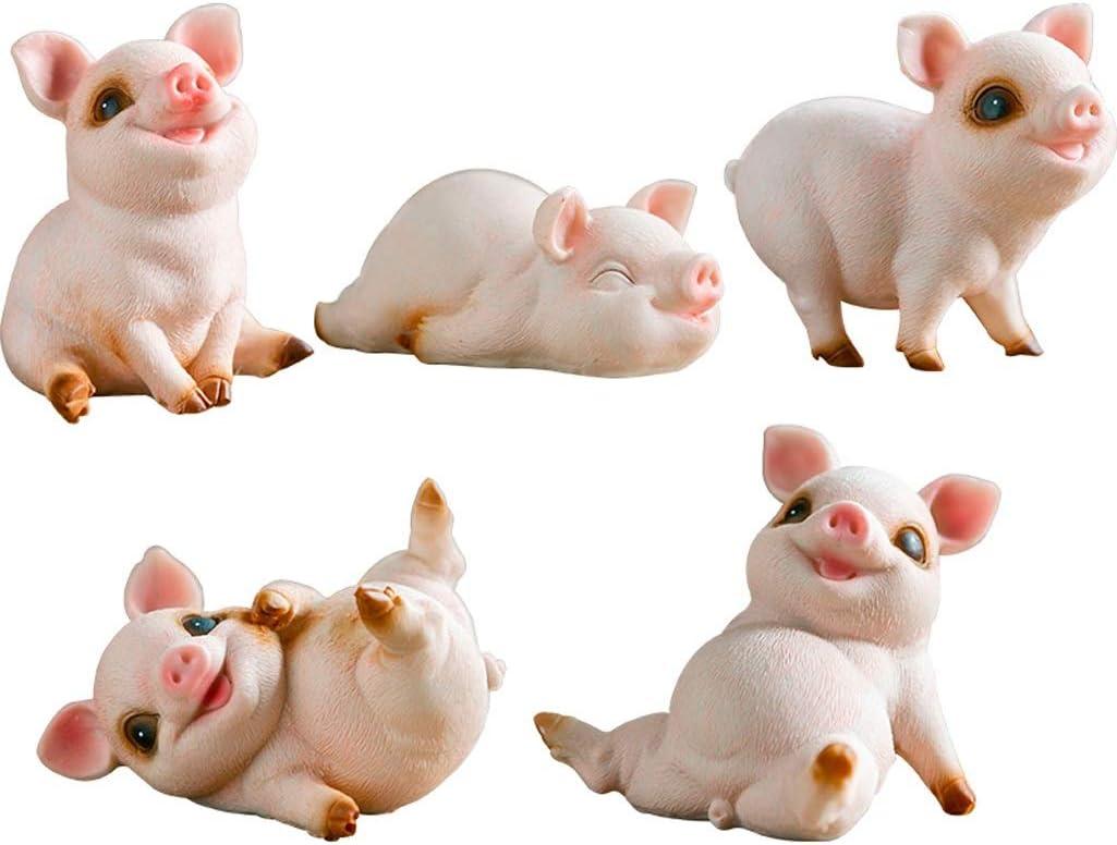 QCC Creative Pig Statue Decoration Living Room Home Desktop Decoration Garden Cute Animal Sculpture Figurines