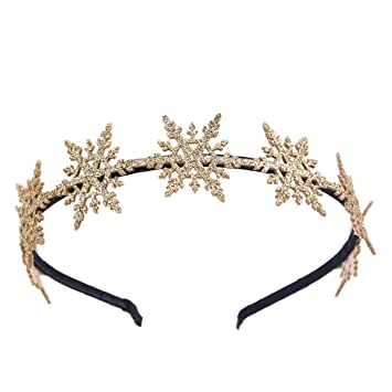 Gold Leaf Flower Crown Glitter Hair Piece Head Band Glitter Christmas Xmas Party