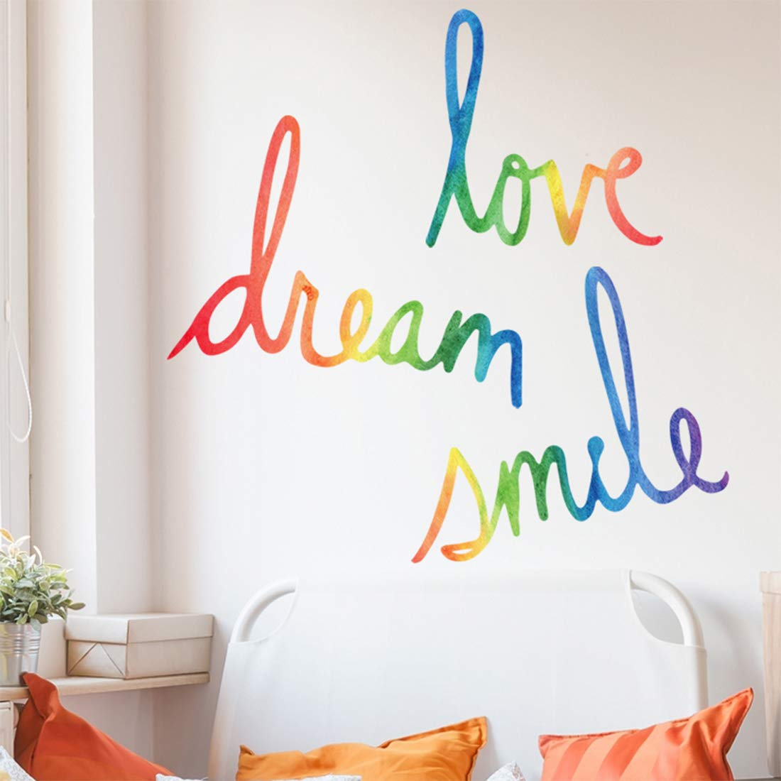Inspirational Wall Decor Quotes for Living Room – Love Dream Smile – Wall Decor for Bedroom Classroom Playroom Nursery Girls Boys Room Wall Decals Decorations