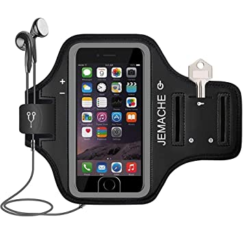 online store c961c d681e iPhone 7 / 8 / 6 Plus Armband, JEMACHE ID Touch Supported Gym Jog/Run  Workout Arm Band Case for iPhone 6/6S/7/8 Plus (Black)