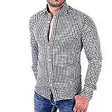 Software : T-shirt,ZYooh Boy's Men's Long Sleeves Lattice Shirt Fashion Plaid Slim Fit Blouse Top (L, black)