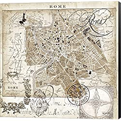 Euro Map II - Rome by Tre Sorelle Studios Canvas Art Wall Picture, Museum Wrapped with Black Sides, 24 x 24 inches
