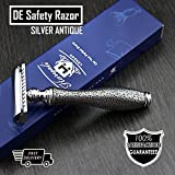 Classic DE Safety Razor with Silver Antique Inspired Handle for a Retro Shave Look (No Blades Included)  Perfect for Wet Shaving
