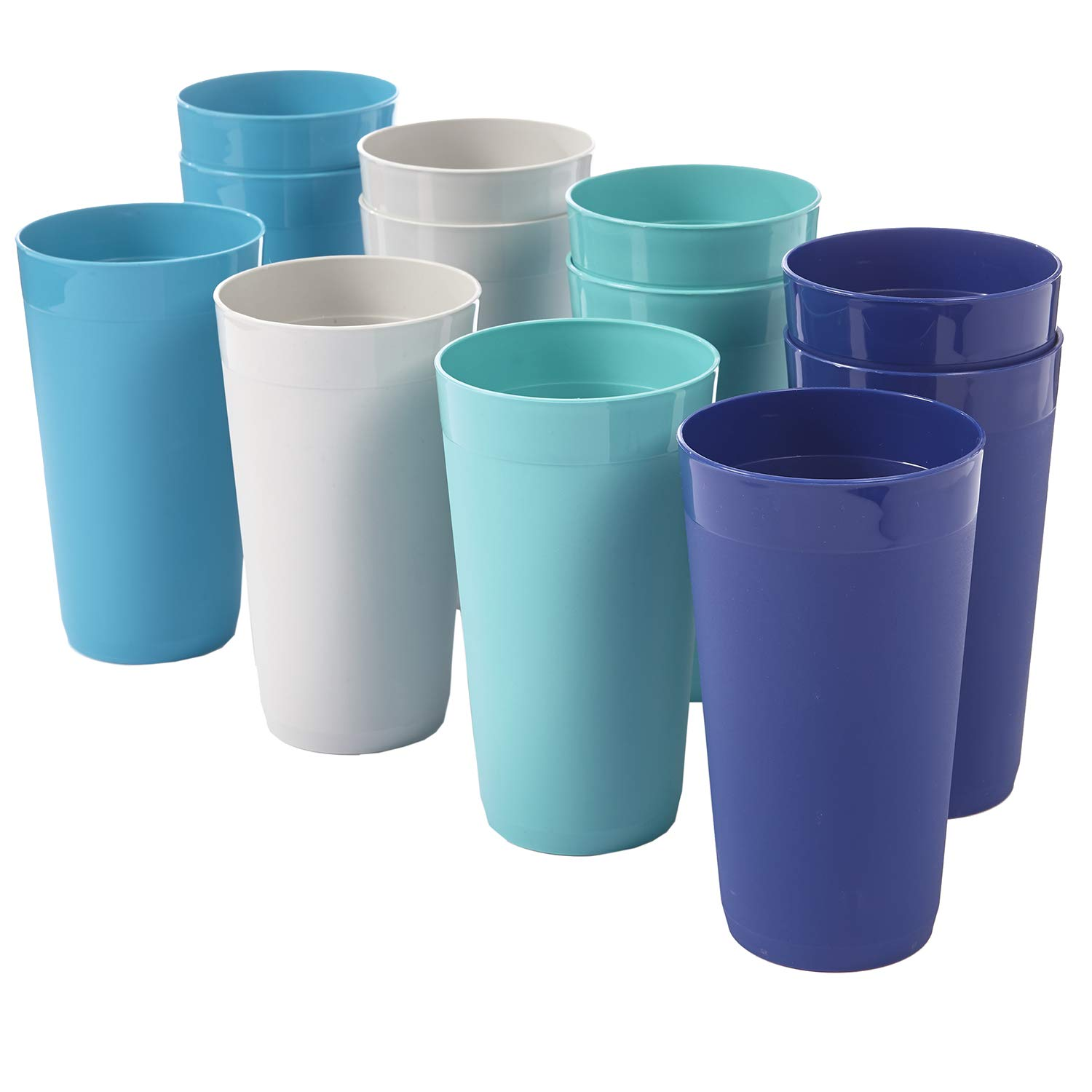 Newport 20-ounce Unbreakable Plastic Tumblers | set of 12 in 4 Coastal Colors by US Acrylic