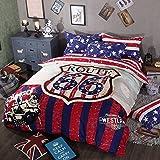 TheFit Paisley Textile Bedding for Adult U1540 American Route 66 Duvet Cover Set 100% Cotton 500 Thread Count , Queen Set, 4 Pieces