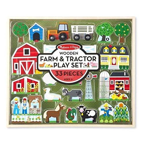 Blocks Farm Building Wooden - Melissa & Doug 14800 Wooden Farm & Tractor Play Set (33 pcs)