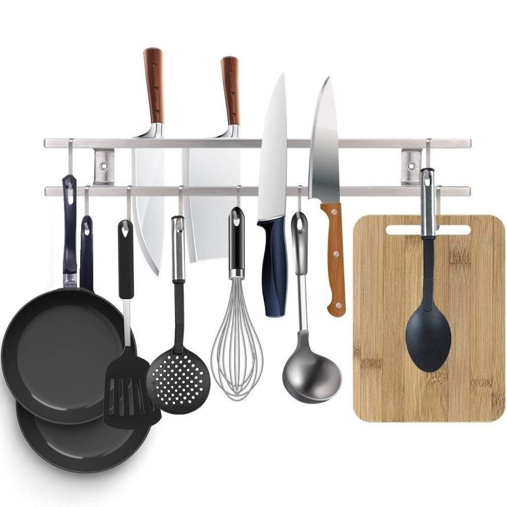 Magnetic Knife Strip 18 Inch,Double Bars with 8 Removable Square Hooks,Multi-use as Utensil holder, Knife Holder, Cookware Holder, Cutting Board Holder, Space Saving Organizer for Kitchen