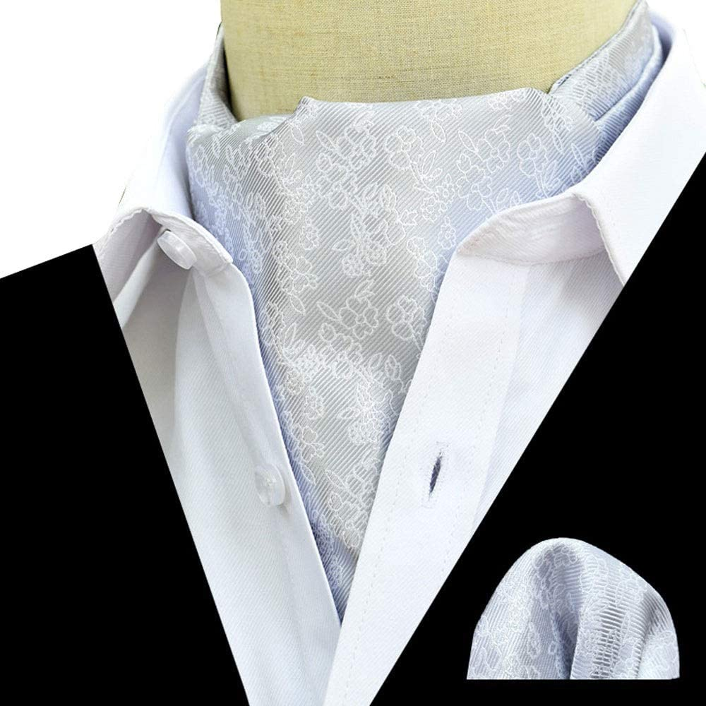 Color : C YLQC Mens Fashion Classic Cravat Paisley Floral Jacquard Woven Self Tie Luxury Ascot and Pocket Square Set