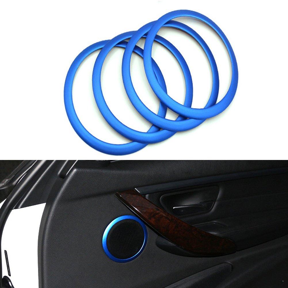 Angelguoguo Aluminium Alloy Car Loudspeaker Decoration Ring Cover Sticker Fit for 2013 2014 2015 BMW 3 Series 320 328 335li 316i F30 F35 Blue