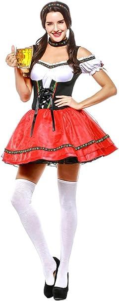 BOZEVON Vestido de Dirndl para Mujeres, Disfraz de Oktoberfest ...