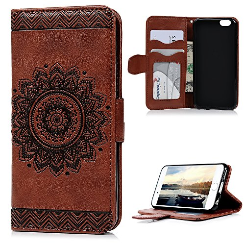 "iPhone 6S/6 Wallet Case (4.7""), YOKIRIN PU Leather Dream Catcher 3D Relief Totem Embossed Folio Flip Full Protective Cover with Credit Card Holder Kickstand Magnetic Closure for iPhone 6/6S, Brown"
