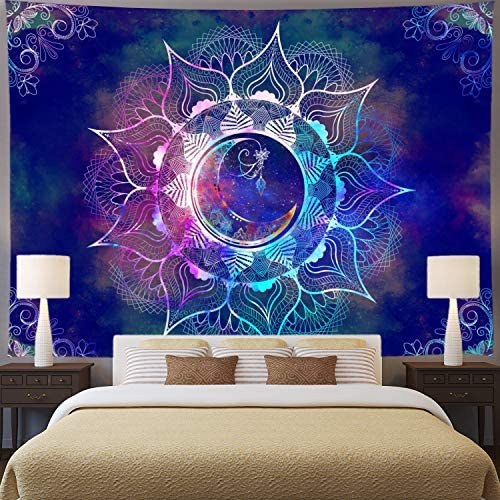 Mandala Tapestry Blue Starry Sky and Moon Tapestry Psychedelic Trippy Tapestry Wall Hanging Bohemian Hippie Tapestry Mandala Floral Tapestry for Bedroom Dorm Decor XL 70.8 92.5 , Blue Mandala