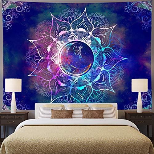 (Ameyahud Mandala Tapestry Blue Starry Sky and Moon Tapestry Psychedelic Trippy Tapestry Wall Hanging Bohemian Hippie Tapestry Mandala Floral Tapestry for Bedroom Dorm)