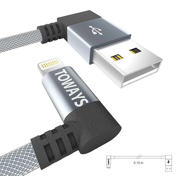 Toways Cargador iPhone Cable USB Lightning [Apple MFi Certificado] 90 Grados Enchufe Cargador nylon cable para iPhone X 8 Plus 7 Plus 6s Plus 6 Plus 6 5S 5C ...
