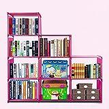 9-Cube Adjustable Bookcase, DIY Storage Cube Organizer 4 tier Home Furniture Cabinet Bookshelf (Pink)
