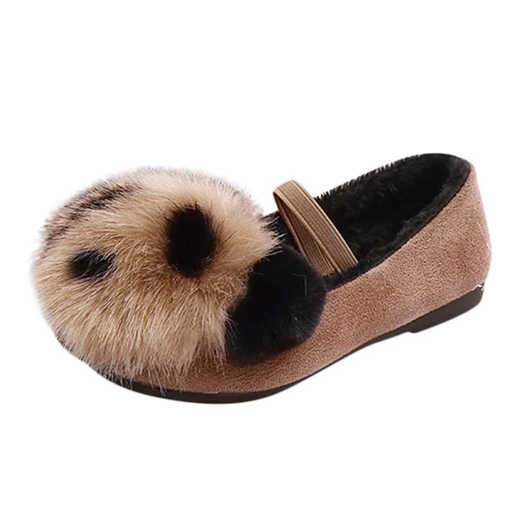 Webla Chaussures Princesse Enfants Bébé Fille - Chaussons Hiver Chaud - Chaussons Flock - Chaussures Simple Décontractées - Chaussures Pompom de Panda Cartoon