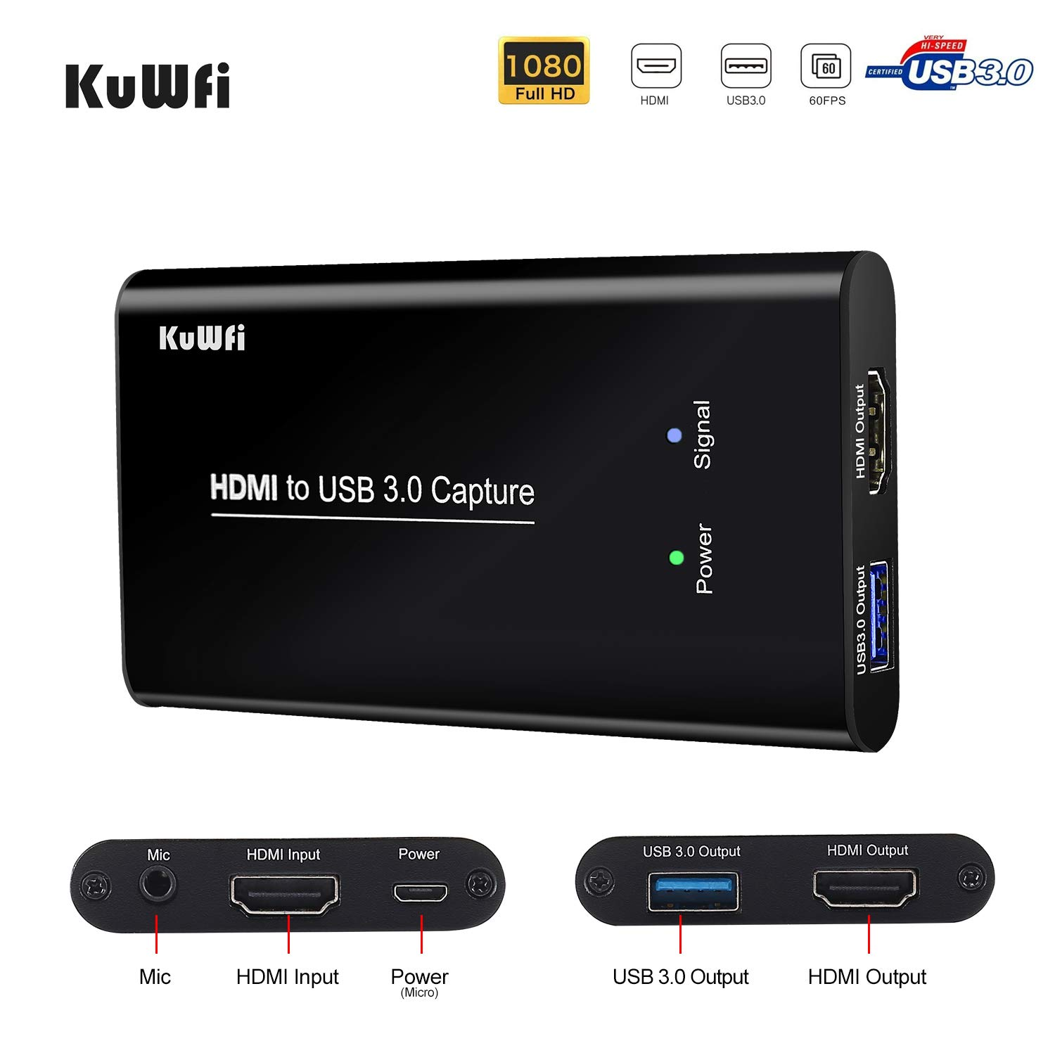 KuWFi HDMI USB Video Capture Device Card HD Video Converters Live Stream Broadcast 1080P with MIC Input Drive-Free for Live Video Camera/SLR/Android/Phone/Laptop