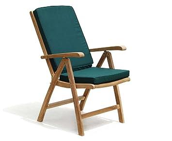 Teak Recliner Garden Chair With Green Cushion Jati Brand