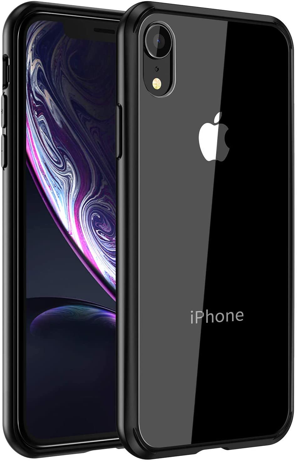 Mkeke Compatible with iPhone XR Case,Clear Anti-Scratch Shock Absorption Cover Case for iPhone XR (Black)