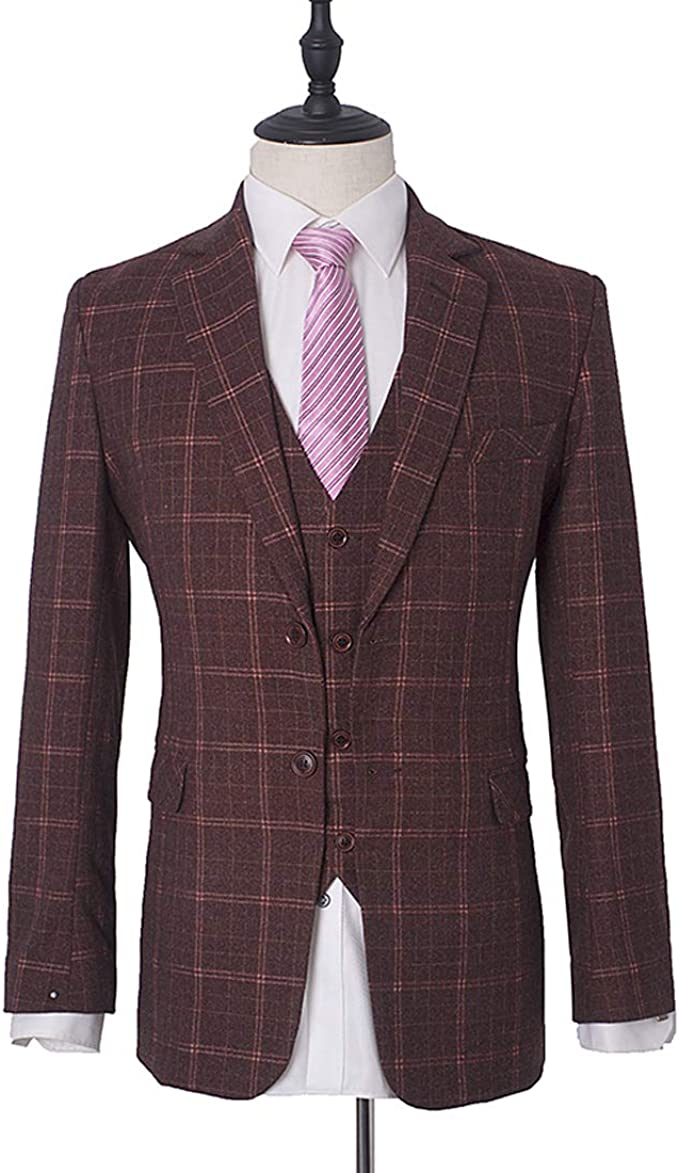 in progress Child Incite  Abruzzomaster Classic Style Dark Red Blazer for Men's Dress 1 Piece Tuxedos  Plaid Man Suit Jacket Woolblend Coat for Man 's Clothes AB057 (XS) at  Amazon Men's Clothing store