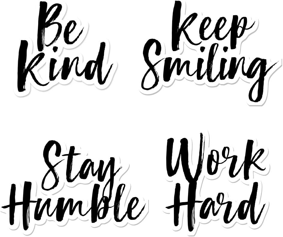 IT'S A SKIN Inspirational Sticker Pack | Vinyl Sticker Decal for Laptop Tumbler Car Notebook Window or Wall | Work Hard, Keep Smiling, Stay Humble, Be Kind Novelty Decal