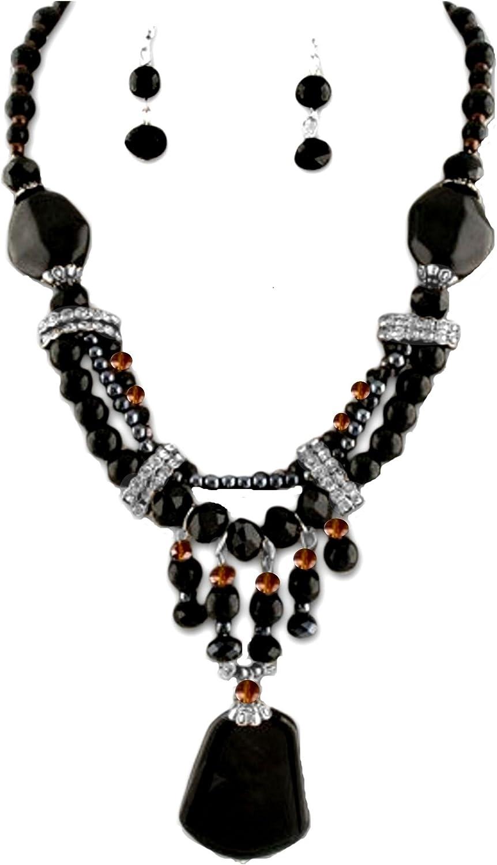 Joyas Ant Symphony único mano Luxus joyas Juego Set Collar Pendientes Pendientes de perlas de cristal marrón ámbar negro colgante semi preciosas piedras Onyx Negro Transparentes