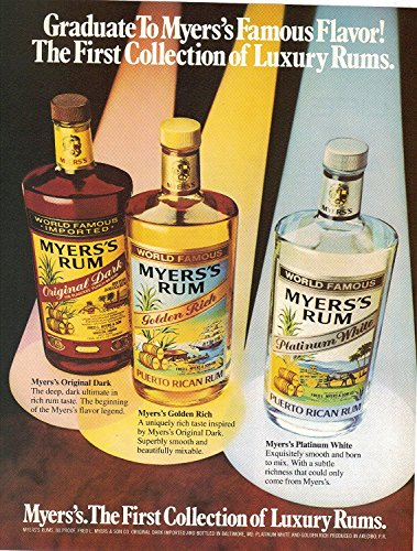 Magazine Print Ad: 1982 Myers's the first collection of Luxury Rums -'Graduate to Myers's Famous Flavor!' Platinum Rum