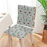 Mikihome Chair Cushion 2 Piece Set Seagulls Lighthouses Message in Bottles Steamboats Sailboats WavyNauti Indoor/OutdoorSoft Thicken Mat:W17 x H17/Backrest:W17 x H36