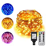 ErChen Dual-Color LED String Lights, 100 FT 300 Leds Plug in Copper Wire Color Changing 8 Modes Dimmable Fairy Lights with Remote Timer for Indoor Outdoor Christmas (Blue/Warm White)
