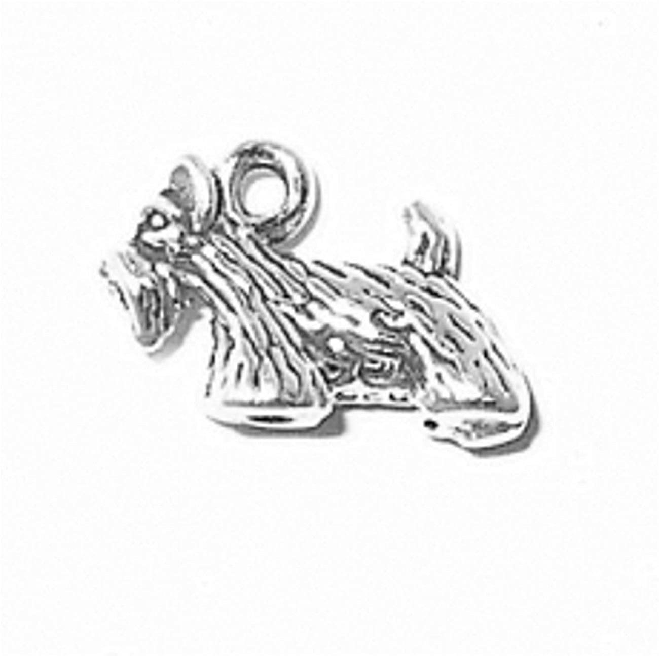 Sterling Silver Girls .8mm Box Chain 3D Small Scottish Terrier Tail Up Dog Breed Pendant Necklace