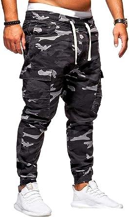 Securiuu Pantalones De Jogger De Camuflaje Para Hombre Casual Pantalones Deportivos De Algodon Elastico Negro Negro 24 28 Amazon Es Ropa Y Accesorios