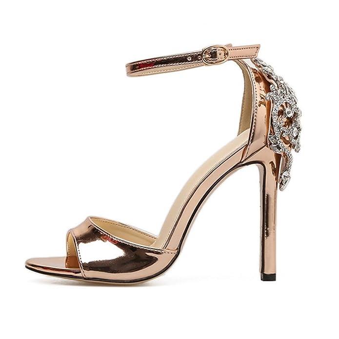 Sandalias Tacón Alto de Vestir para Mujer, QinMM Zapatos de Baño Chanclas Verano de Playa Fiesta (39, Dorado)
