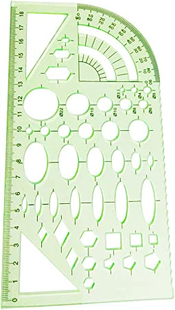 YEJI 2PCS Green Plastic Measuring Templates Geometric Rulers geometric patterns for Office and School Building form work Drawings templates