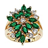 Palm Beach Jewelry 18K Gold-Plated Marquise Cut Green Floral Ring Made with Swarovski Elements