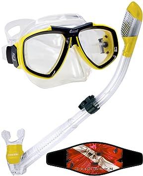 Cressi – Máscara de buceo (Focus Máscara y Dry Snorkel, 55950 amarillo