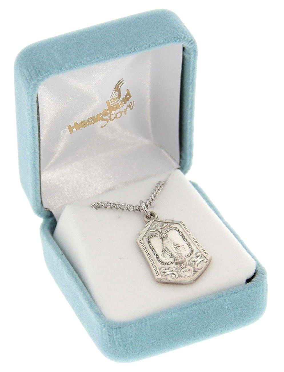 Chain Choice Heartland Womens Sterling Silver Hexagon Shape Miraculous Medal USA Made