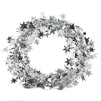 Girlande Sterne Glöckchen weiß silber zum Hängen 62 cm